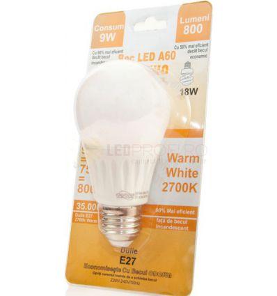 BEC LED E27 9W GLOB A60 270 GRADE ALB CALD