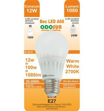 BEC LED E27 12W GLOB A68 270 GRADE ALB CALD